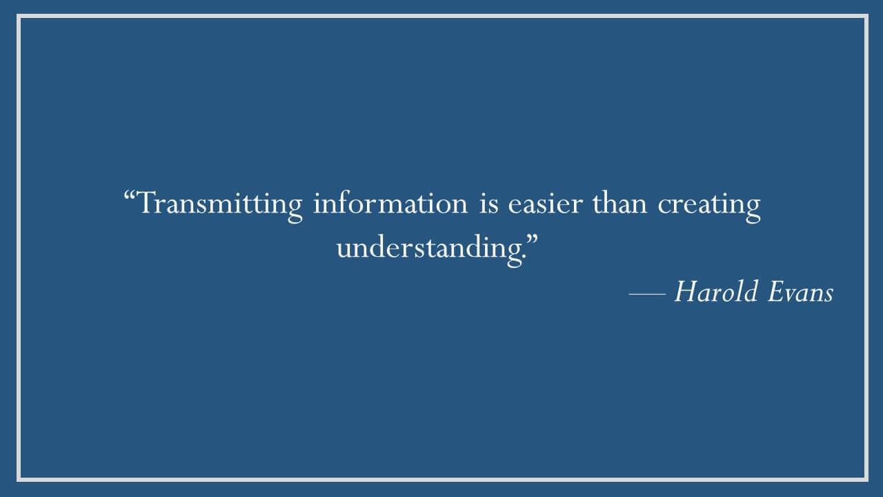 Harold Evans on Creating Understanding
