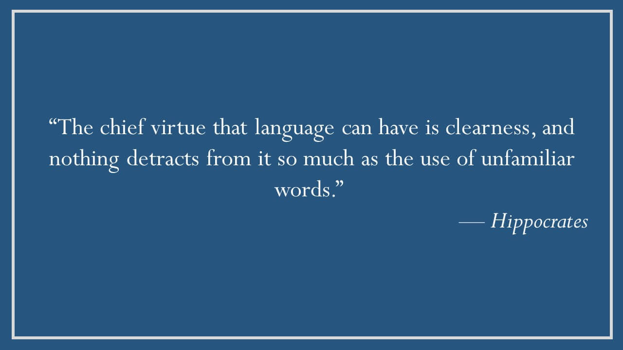 Hippocrates on Clarity of Language