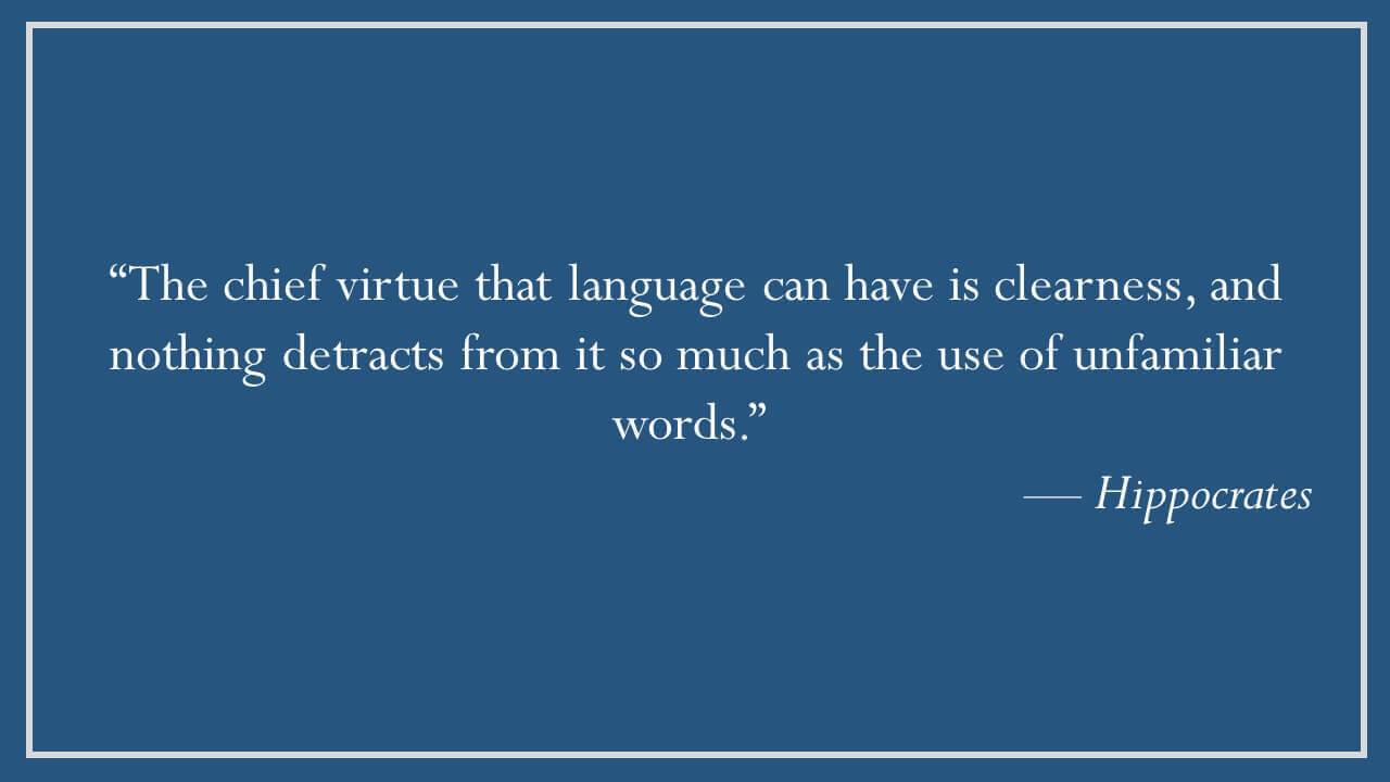 Hippocrates on Clarity of Language