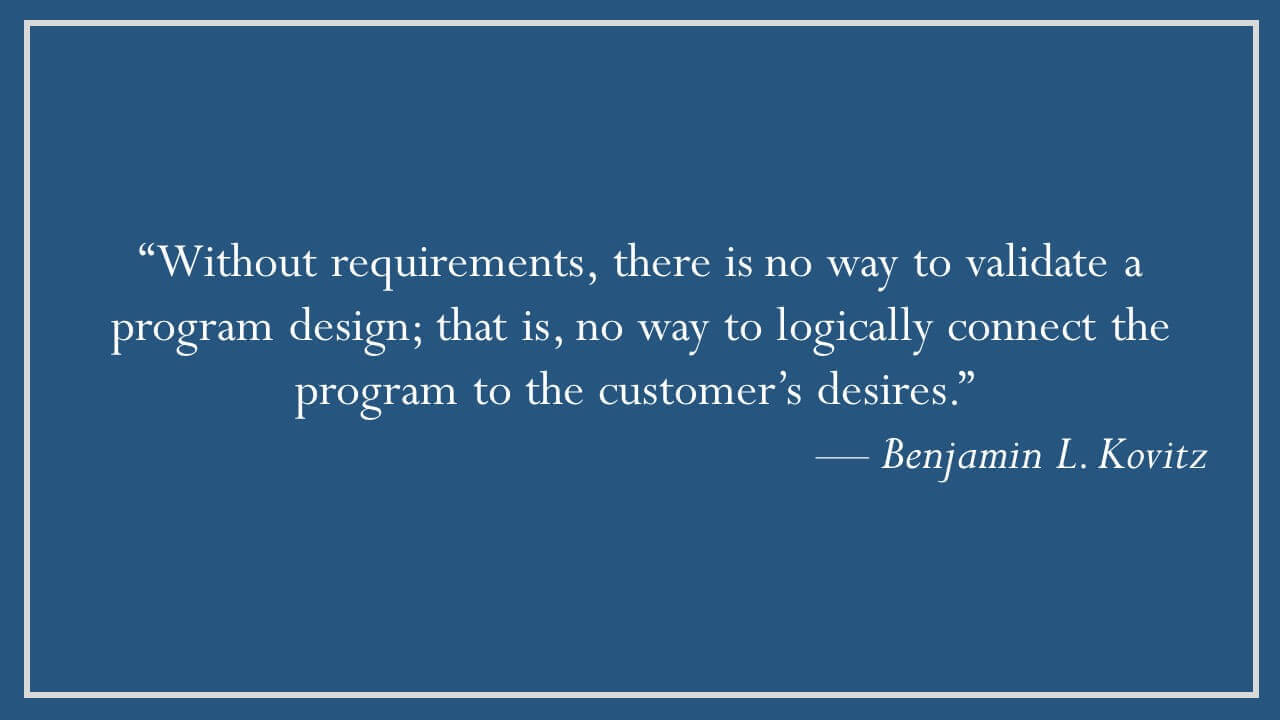 Benjamin L. Kovitz on Requirements